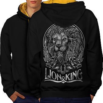 Dyret dyret Løvernes Konge mænd sort (guld Hood) kontrast hættetrøje tilbage | Wellcoda