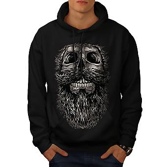 Beard Hipster Cool Skull Men BlackHoodie | Wellcoda