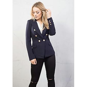 Militær stil skreddersydd Blazer jakke marineblå