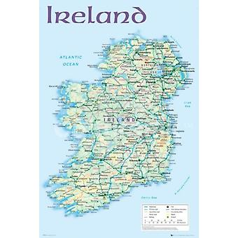 Ireland Map 2012 Poster Print (36 X 24)