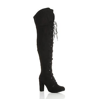 Ajvani Womens hohe Ferse Schnürschuh Schnalle Piraten über Knie Overknee Stiefel