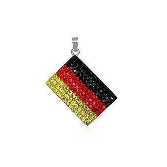 Flag Germany Crystal and 925 Silver Pendant