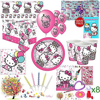 Hello Kitty Party Kit For 8 Guests With Pre Filled Party Bags, Pass The Parcel, Banner, Balloons And Tableware - Ultimate Set With FREE Downloadable Party Games