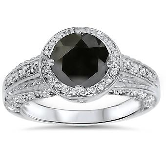 1 1/4ct Black & White Diamond White Gold Engagement Ring