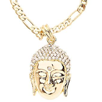 Iced out bling fashion necklace - gold BUDDHA head