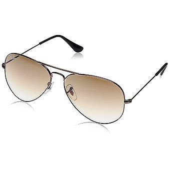 Ray-Ban Ray-Ban Large Polished Grey Metal Aviator Sunglasses With Gradient Brown Lens
