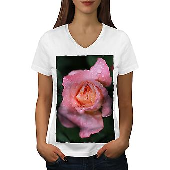 Rose Flower Photo Women WhiteV-Neck T-shirt | Wellcoda