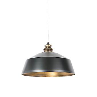 QAZQA Industrial Round Pendant Lamp Black with Gold - Legna