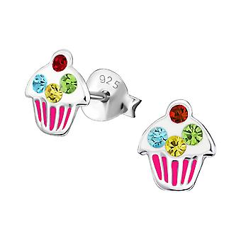 Cupcake - 925 Sterling Silver Crystal Ear Studs - W18689x
