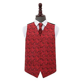 Black & Red Paisley Wedding Waistcoat & Cravat Set