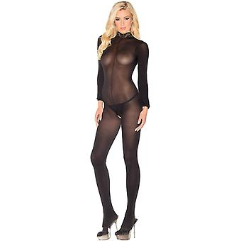Be Wicked BWB88B Long Sleeve Crotchless Jumpsuit Bodystocking