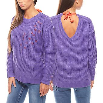 68b587e0300bc trendy loop sweater star pattern ladies of purple MACHA