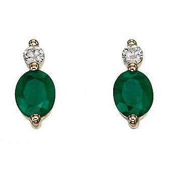 Elements Gold Emerald and Diamond Drop Earrings - Green/Gold