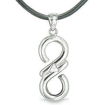Infinity Mystic Triangle Cosmic Powers Magic White Cats Eye Spiritual Energy Pendant Necklace