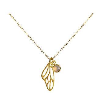Gemshine - dames - halsketting - hanger - vlinder - vleugels - WINGS - 925 zilver - verguld - Rose Quartz - 45 cm