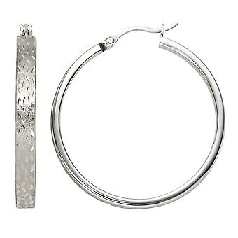 Hoops rhodium plated approximately 925 Sterling Silver earrings silver partially frosted