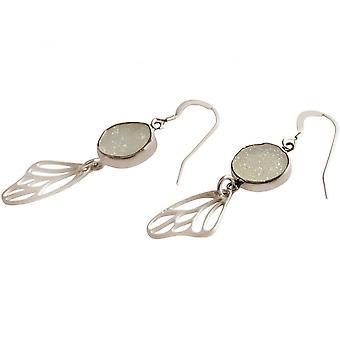 Ladies - earrings - butterfly - wings - WINGS - 925 Silver - DRUZY - white - quartz - 5 cm