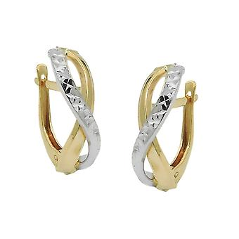 Creole 18x5mm flap hinge bicolor 9Kt GOLD with white gold diamantiert