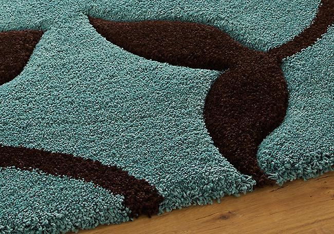 Sculpture de Mode 7647 Blue-Brown Fond bleu avec la conception florale brun Rectangle Tapis Tapis modernes