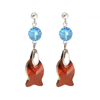 Ladies earrings 925 Silver fish red blue MADE WITH SWAROVSKI ELEMENTS® 3 cm