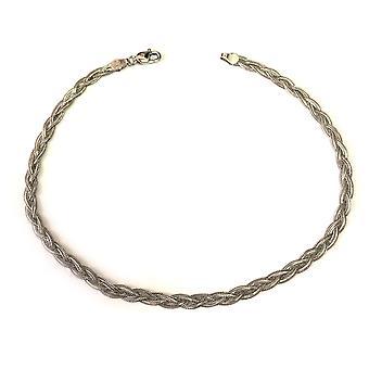 14K White Gold Braided Fox Chain Anklet, 10