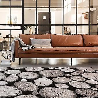 Weconhome Logs Rugs 28341 090 In Black And Taupe