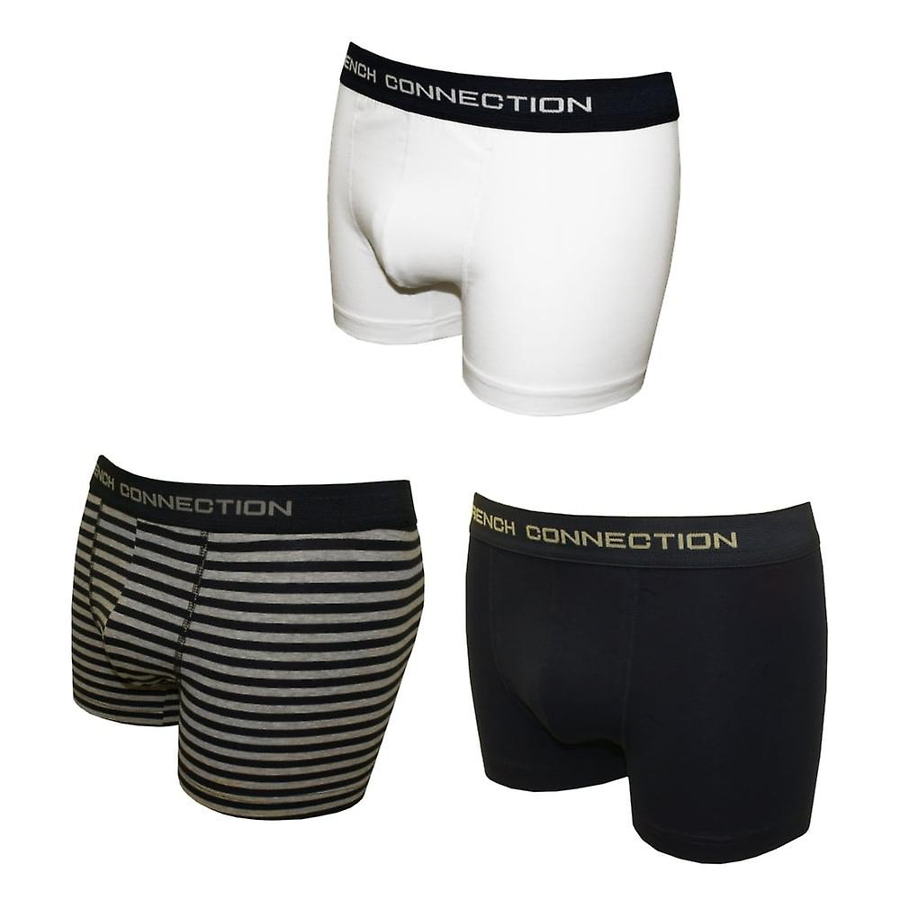 French Connection 3-Pack Stretch Cotton Boxer Trunks, White/Navy/Stripes