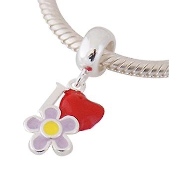 Sterling silver pendant charm Flower with heart