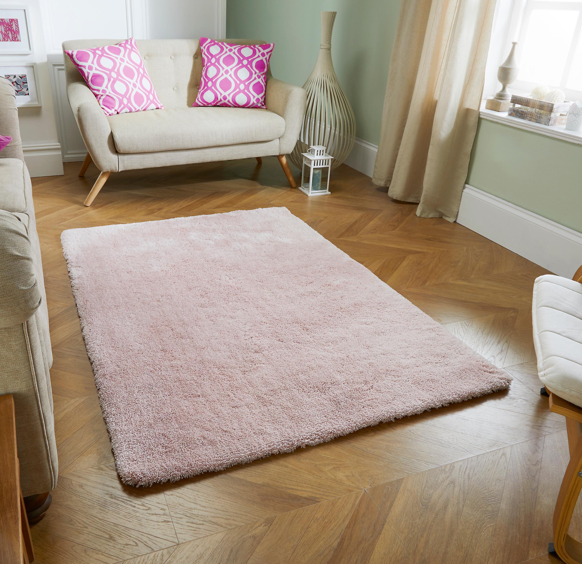 Tapis douceur rose Rectangle tapis Plain presque ordinaire