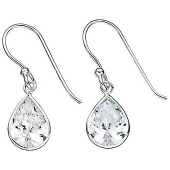 Beginnings Cubic Zirconia Teardrop Drop Earrings - Silver/Clear