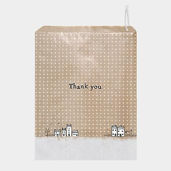 East of India Brown Paper Gift Bags THANK YOU x 50