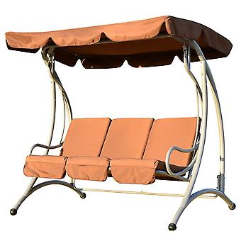 Outsunny 3 Seater Outdoor Garden Patio Metal Swing Chair Swinging Hammock Cushioned Bench Seat - Coffee