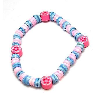 The Olivia Collection Girls Pink & Blue Shell Bracelet Flower With Wooden Beads