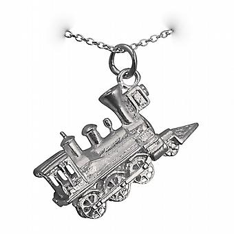 Silver 16x27mm solid Steam Locomotive Pendant with a rolo Chain 14 inches Only Suitable for Children
