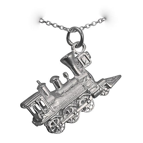 Silver 16x27mm solid Steam Locomotive Pendant with a rolo Chain 16 inches Only Suitable for Children