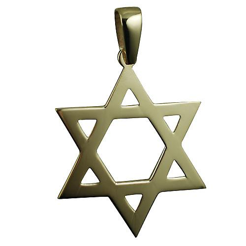 9ct Gold 37x37mm plain Star of David Pendant with bail