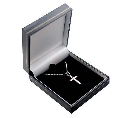 Silver 20x12mm diamond star set solid block Cross with a rolo chain