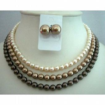 Handcrafted Wedding Three Strands Necklace Swarovski Pearls Tri-Colors