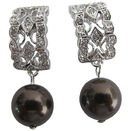 Dazzling Beautiful Dark Chocolate Pearl Sparkling Earring