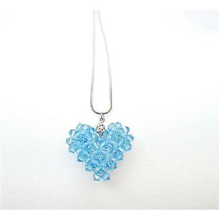 Swarovski Aquamarine Crystals Puffy Heart Pendant Custom Heart Jewelry