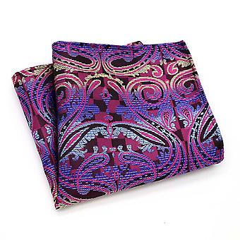 Pink blue & yellow paisley pattern pocket square hanky