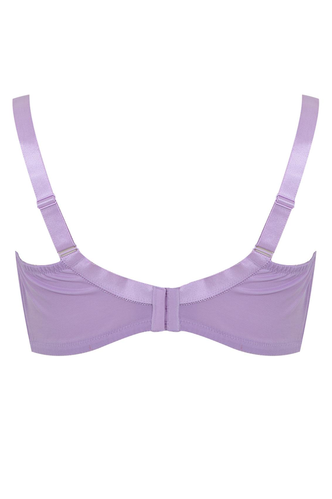 Lilac Cotton Rich Non-Wired Bra With Lace Trim