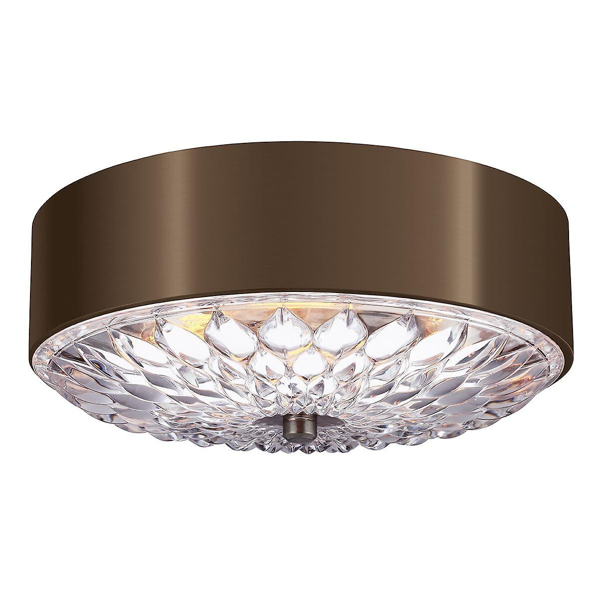Elstead - 3 Light Medium Flush Mount - Dark Brass Finish - FE BOTANIC F M
