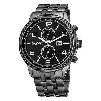 August Steiner Men's AS8069 Swiss Quartz Coin Edge Bezel Stainless Steel Bracelet Watch  AS8069BLK