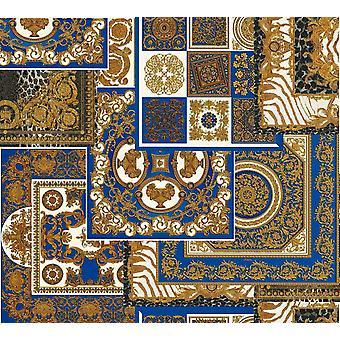 Versace Decoupage Blue Gold Wallpaper Baroque Ornament Metallic Paste Wall Versace Decoupage Blue Gold Wallpaper Baroque Ornament Metallic Paste Wall Versace Decoupage Blue Gold Wallpaper Baroque Ornament Metallic Paste Wall