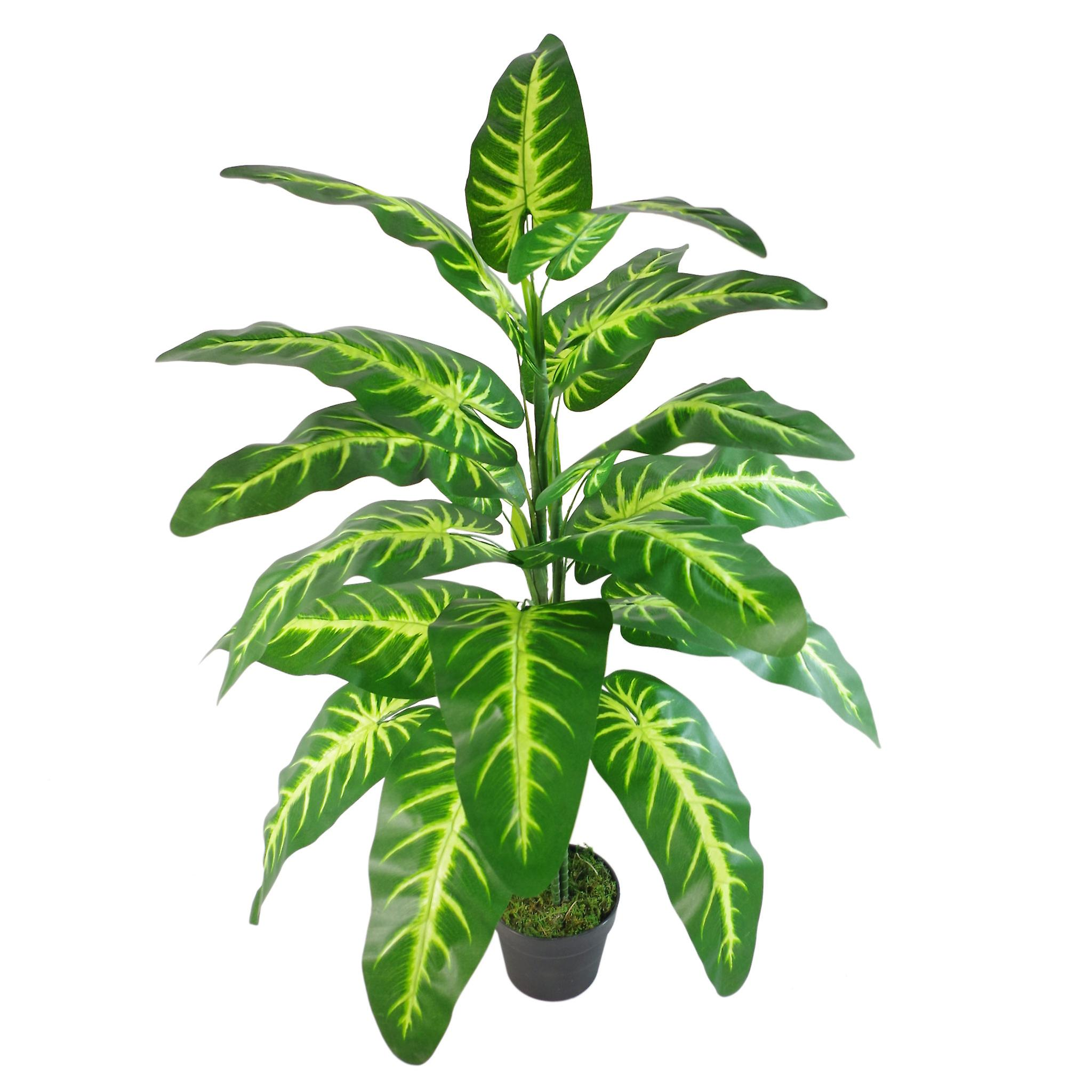 120cm Artificial Large Leaved Evergreen Tall Variegated Plant