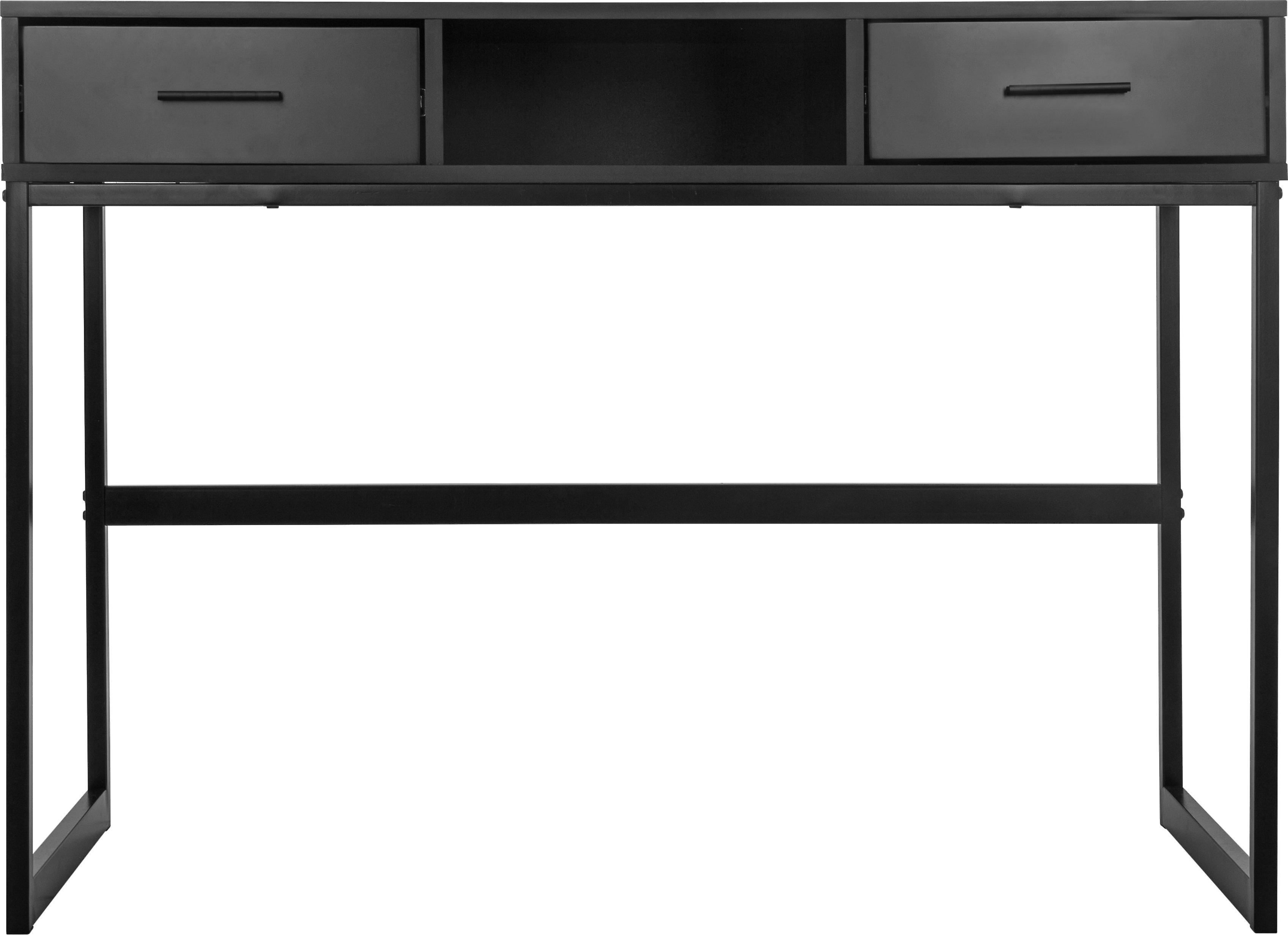 Bureau met 2 lades - mdf/ metaal - zwart