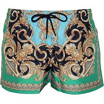 Versace Baroque Print Luxe Swim Shorts, Green/Gold