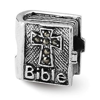 925 Sterling Silber poliert antike Finish Reflexionen Marcasite Kreuz Bibel Perle Charme