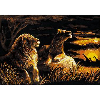 Lions In The Savannah Counted Cross Stitch Kit 15.75